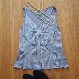 4/$30 Silver Silk Sleeveless Blouse